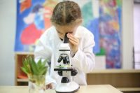 Student observation using microscope